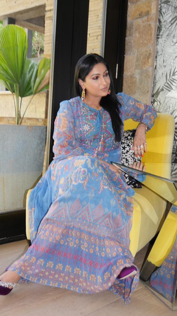 A Ritu Kumar maxi dress in baby blue. Beautiful!