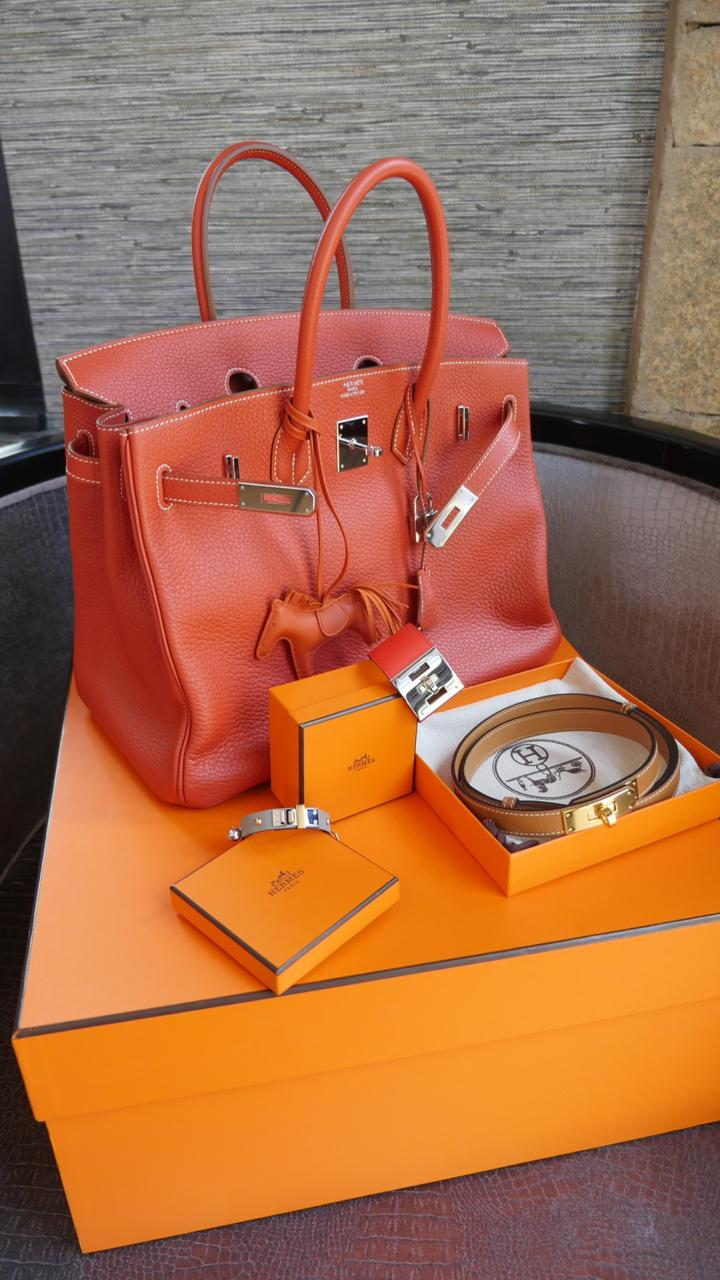 My new baby from Hermes in a beautiful blood orange Fjord leather